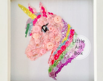 Framed Unicorn handmade with diamontes, gems and buttons, personalise the colours
