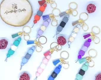 Gold Key Ring with Grey or Marble Geometric Silicone Beads and Tassel