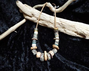 ethnic style polymer clay beads necklace