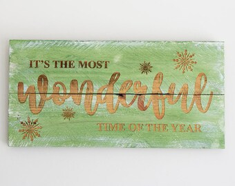 Engraved Pallet Wood Sign- It's the Most Wonderful Time of the Year | Merry Christmas | Gift | Holidays | Home Decor | Wall Hanging