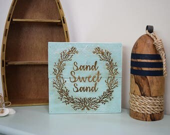 Engraved Pallet Wood Sign- Sand Sweet Sand | Coral | Beach Theme | Nautical | Coastal | Home Decor | Shadow Box | Recycled | Laser