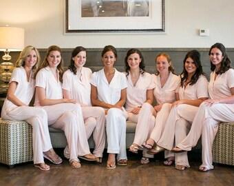 Bridesmaid Pajamas dress, bridesmaid pajama bottoms, bridesmaid pajama tops, bridesmaid pajamas set of 11, bridesmaid pajamas set of 12