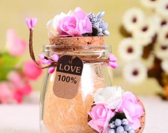 Pink and White Roses Cork Jar | Pack of 6 | Party Favor | Candy Jar