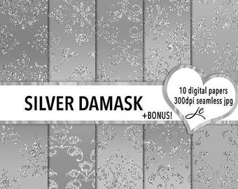 SALE Silver Damask Digital Papers + BONUS Photoshop Pattern File, Seamless, Textures, Backgrounds, Clipart, Personal & Commercial Use