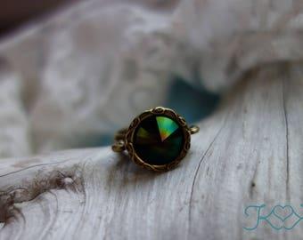 Dark Rainbow Swarovski Crystal Ring