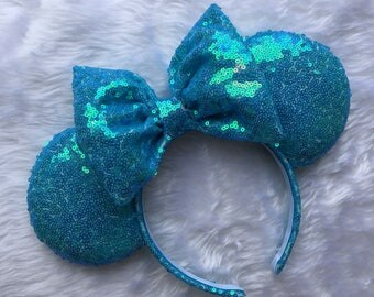 Blue iridescent sequin mouse ears