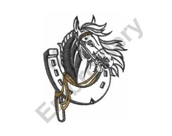 Horse With Horseshoe - Machine Embroidery Design