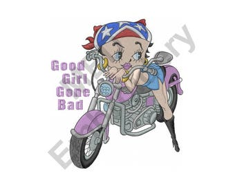 Motorcycle Girl - Machine Embroidery Design, Betty Boop, Good Girl Gone Bad