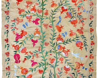 vintage Uzbek silk hand embroidered suzani needlework textile tapestry directly from Uzbekistan slim pomegranate shrubs 1144