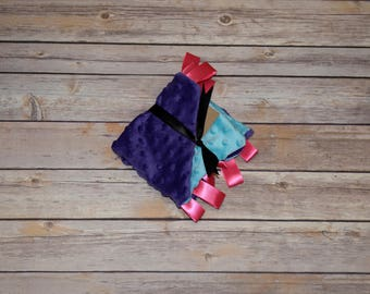 Purple and Blue Girls Soft dotted security Blanket with  Satin Ribbon 12 x 12