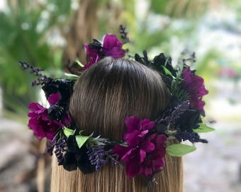 Purple & Black Flower Crown
