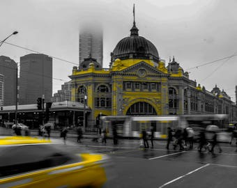 Melbourne, Flinders Street Station, Australia, Fine Art Photography, Taxi, City, Urban