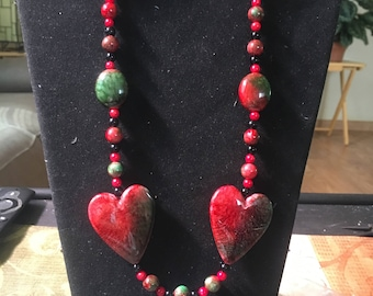 Red and black heart necklace and earrings