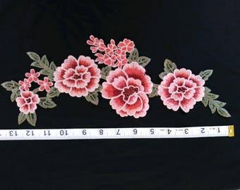 Pink Floral Embroidry Applique