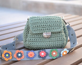 green bag made of knit