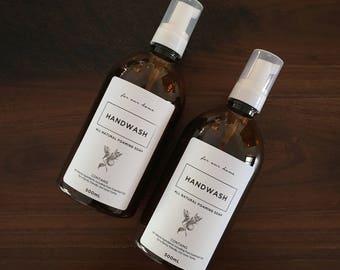 2 x DIY Amber Foaming Hand Wash Bottles & Labels