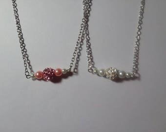 Pearl and Crystal Bar Necklace