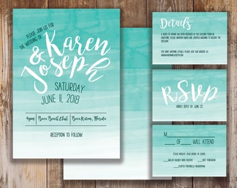 Printable Wedding Invitation, RSVP, and Details Card- Beth Collection