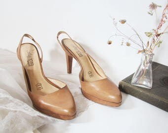 90s Tan Leather Heels, Cathy Jean 7
