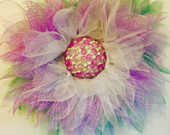 Purple wreath, white wreath, flower wreath, summer wreath, spring wreath, door wreath, everyday wreath, floral wreath, decorative wreath