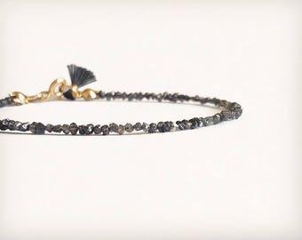 Dainty and filigree Bracelet with raw Diamonds tiny Tassel