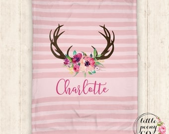 Personalized Blanket - Baby Blanket - Personalized Baby Blanket - Floral Antlers - Rustic Chic Blanket - Throw Blanket - Personalized Gifts