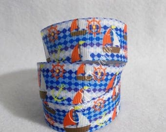 "ONE TIME OFFER Checkered Sail Boats and Nautical 7/8"" Grosgrain Ribbon. 5 yards."