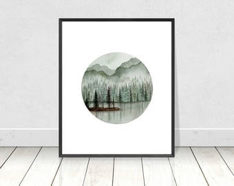 Instant Watercolor Downloadable Pine Forest Painting- Watercolor Printable Tree Art- Home Decor Wall Art- 8X10- 16X20 Printable Prints