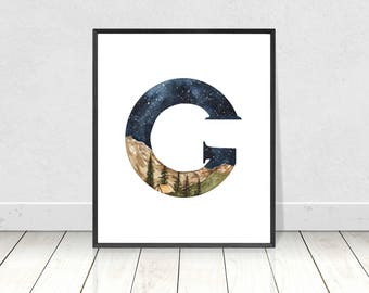 Nursery Monogram Watercolor Alphabet Art Print- Letter G Camping Landscape Boy's Room Wall Art- Alphabet Letters Nursery Room Decor