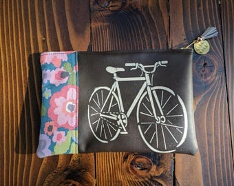 Vegan Friendly Brown Leather Clutch with Bicycle and Flower Fabric