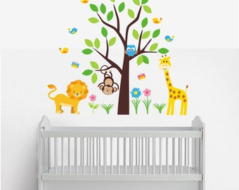 Wall Decals Nursery Peel And Stick Safari Animal Wall Decals Kids Room Stickers