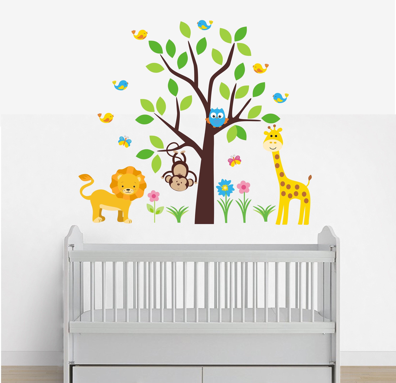Wall Decals Nursery Peel And Stick Safari Animal Wall Decals
