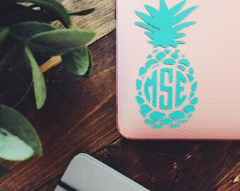PINEAPPLE MONOGRAM // pineapple monogram sticker // vinyl monogram // laptop sticker // monogram sicker // personalized monogram // gift
