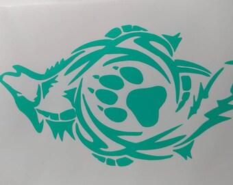 Aztec wolf, paw print, Vinyl sticker