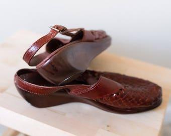 Woven Slip On Wedge Slide Clogs 70s 5 5.5 6