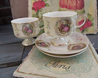 Vintage Victorian scene cup and saucer Versailles Porcelaine high tea