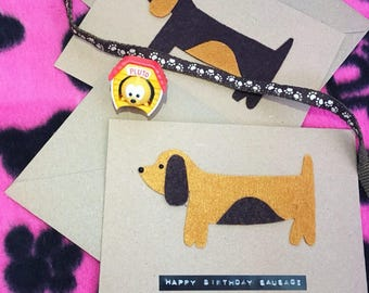 Happy Birthday sausage dog card
