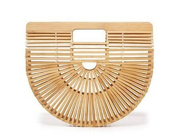 Natural Bamboo Half Moon Purse,Summer Beach Top  Handle  Bag, Ark Style Handbag