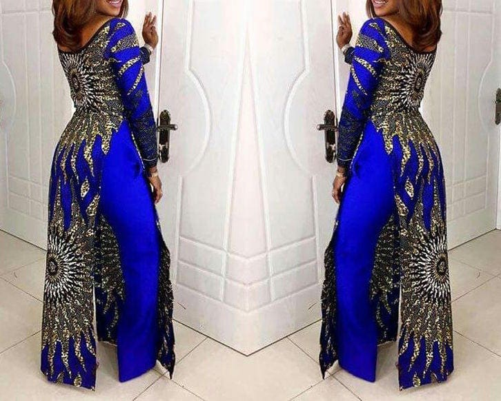 African Print Gown And Pants Set / African Print Wide Leg