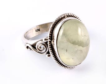 Prehnite 92.5 sterling silver ring size 7 us