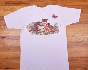 Vintage 90s Cute Cat Kitten Flower Roses Grandma T Shirt