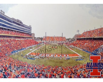 University of Illinois Memorial Stadium LIMITED EDITION Pen and Ink and Watercolor Art Print Illustration by John Stoeckley -Graduation Gift