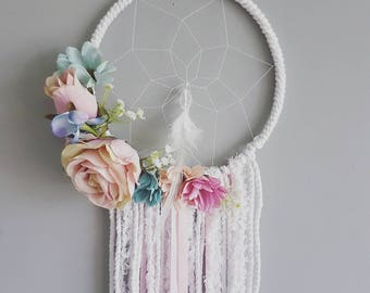 Pink and blue floral dream catcher,Floral dream catcher, wedding, floral, girly dream, girl dream catcher, floral nursery, pink decor, pink
