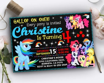 My Little Pony Invitation, My Little Pony Birthday, My Little Pony Birthday Invitations, My Little Pony Party, Little Pony Invitation