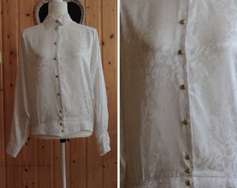 Vintage blouse from 1980's / / white / / gold buttons / / satin / / leopard print / / / small/medium / /