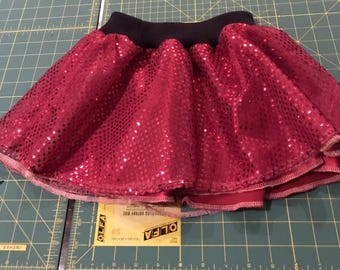 Sequinned 3 layer skirt with cotton ribbing waist band