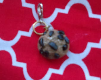 Chocolate chip cookie charm w/ 12mm x 6mm Lobster Clasp