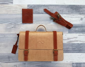 "Leather Briefcase, Men's Messenger, 14"" Laptop Briefcase, Attache, Work Bag, Tote, Men's Leather Saddle Bag"