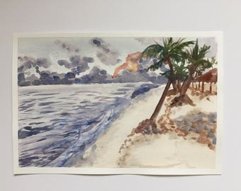 Original watercolor stormy beach painting