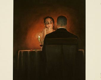 Romantic figuritive decor oil painting/candlelite art/Giclee print/A4/A3/romantic art/Home and office decor.